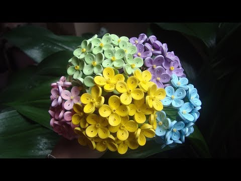 Quilling Hydrangea Flower Tutorial | DIY Paper Hydrangea Flower Tutorial