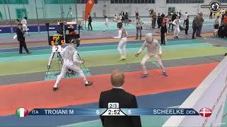 2018 1234 T64 06 M F Individual Halle GER European Cadet Circuit RED SCHEELKE POULSEN DEN vs TROIANI