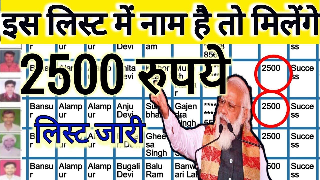इस लिस्ट में नाम है तो मिलेंगे 2500 रुपये सीधे बैंक खाते में, लिस्ट में नाम चेक करें!