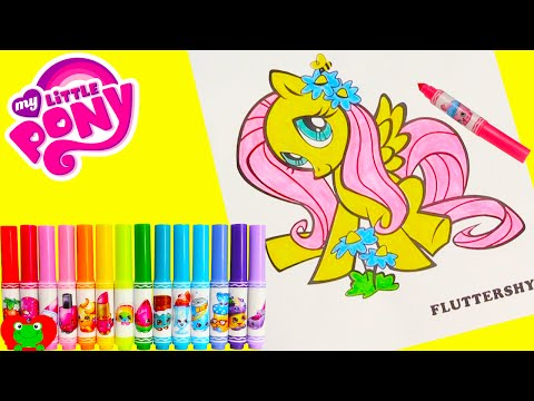 Thumbnail: My Little Pony Fluttershy Coloring Page Crayola Shopkins Num Nom Lip Balms and Surprises
