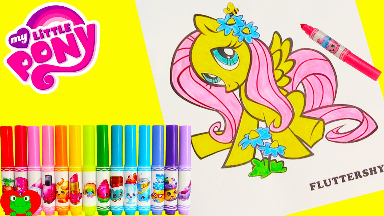 My Little Pony Fluttershy Coloring Page Crayola Shopkins