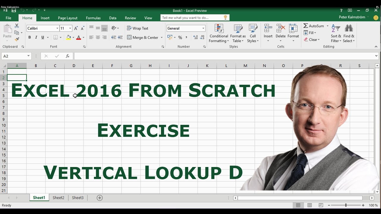 Excel 2016 from Scratch Exercise - Use VLookup for Search
