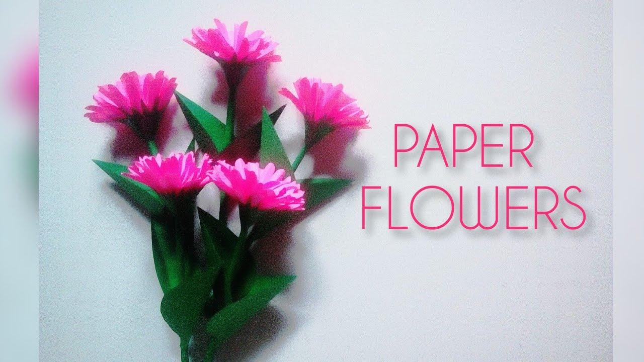 Easy Paper Flower Craft Diy Paper Flower Making Ideas Home Decor Handmade Flowers Youtube