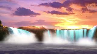Calming, Soothing, PEACEFUL WATERFALL Meditation, Ambiance, Nature Sounds 💤🌎🎹🏝SLEEP SOUND FAST