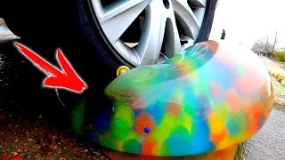 EXPERIMENT: CAR VS GIANT BALLON With ORBEEZ INSIDE