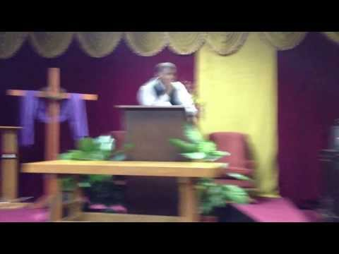 Apostle Charles E Marsh preaching at Greater Restoration, Lumberton NC