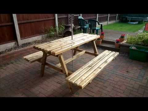 How To Build Your Own Picnic Bench Out Of Pallets