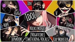Nightcore - Idol (Switching Vocals) (Color Coded) (BTS Ft. Nicki Minaj)