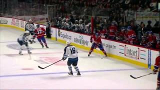 Antropov hit on Brandon Prust scrum 29 Jan 2013 Winnipeg Jets vs Montreal Canadians NHL Hockey