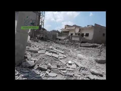 دمار كبير تخلفه طائرات الأسد في عقرب