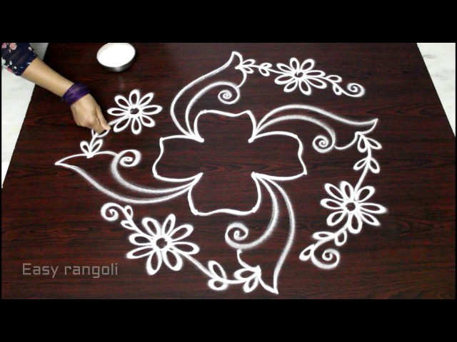 flower kolam designs with dots || muggulu designs with dots || easy rangoli designs