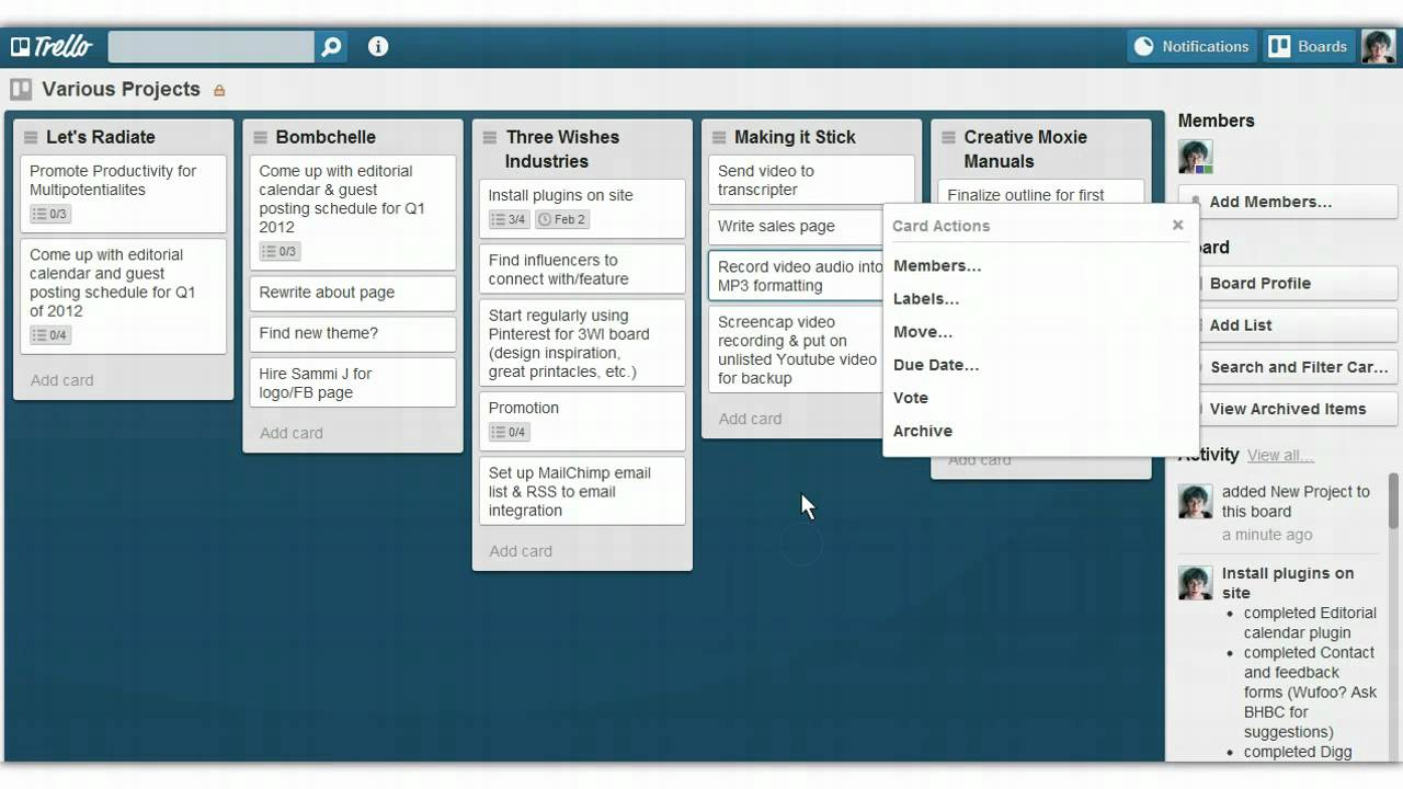 Using trello to manage multiple projects youtube for Managing multiple projects template
