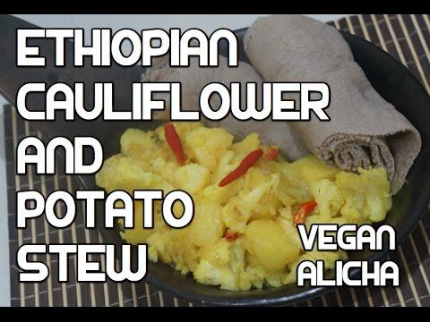 Ethiopian Cauliflower & Potato Recipe - Vegan Dinich Abeba Gomen - Amharic