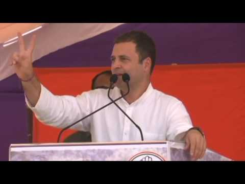Congress President Rahul Gandhi addresses a public gathering in Jhalawar, Rajasthan
