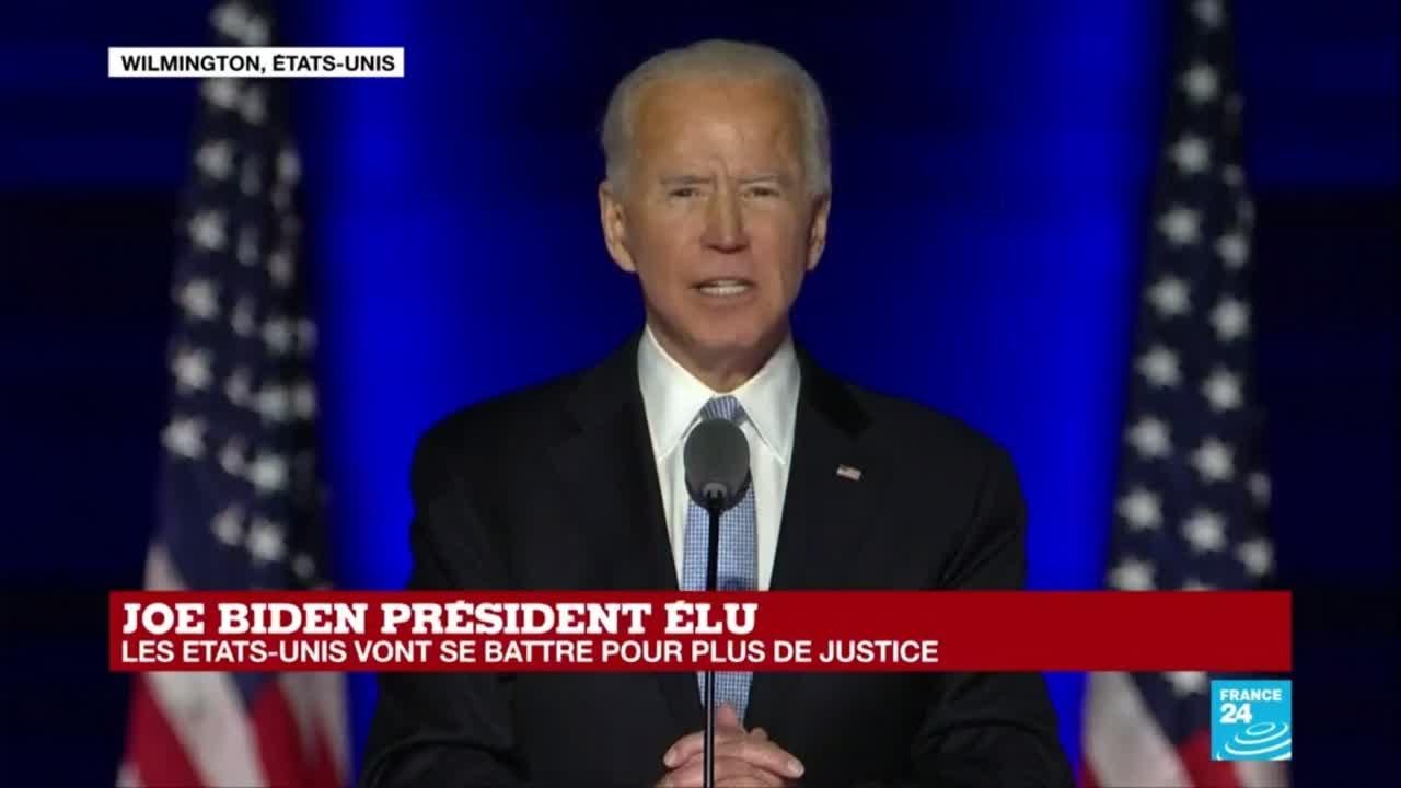 Premier discours de Joe Biden, élu 46e président des États-Unis