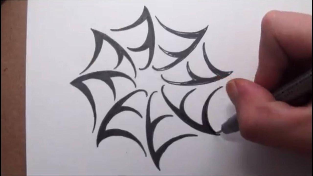 Draw Spider Web - Tribal Tattoo Design Style