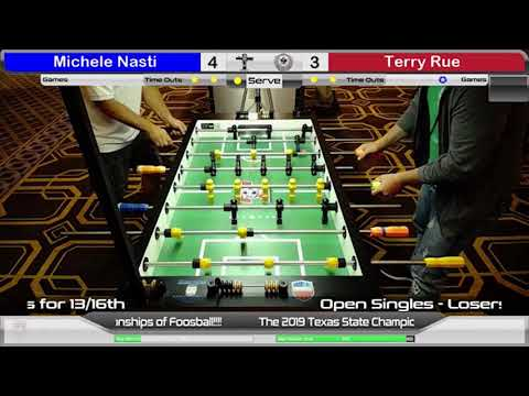 Tornado  Foosball Texas State 2019: Open Single - Michele Nasti vs Terry Rue