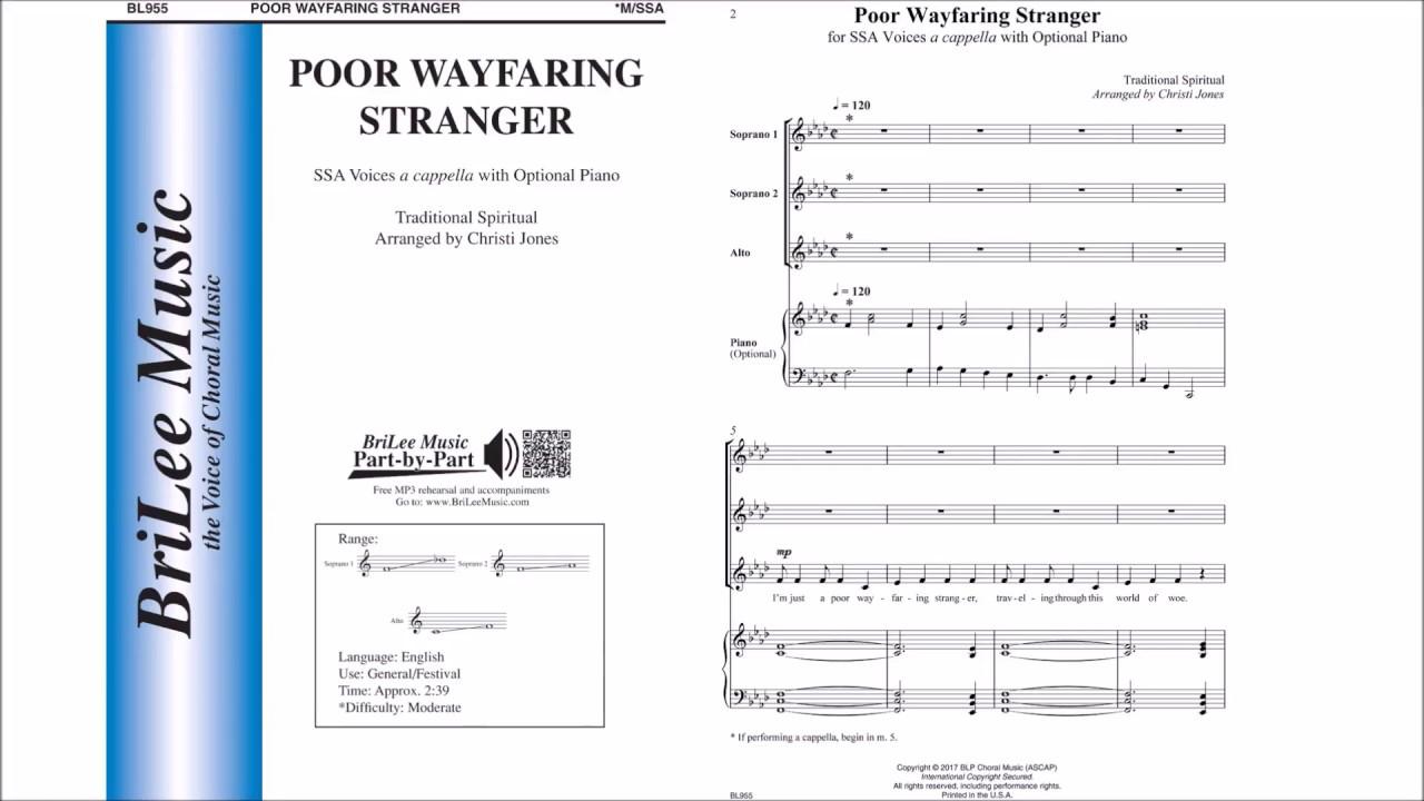 Sheet music: Poor Wayfaring Stranger (SSA A Cappella)
