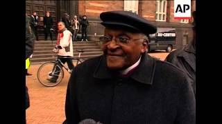 Archbishop Tutu, Yvo de Boer speak on City Hall square, Blair sbite