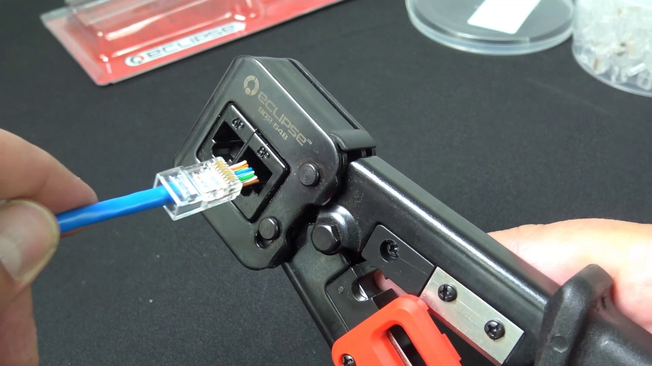 How To Crimp Rj45 Pass Through Modular Plugs W Quikthrough Wiring Diagram And Pin Counting Tool