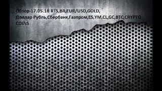 Обзор-17.05.18 RTS,BR,EUR/USD,GOLD, Доллар Рубль,Сбербанк,Газпром,ES,YM,CL,GC,BTC,CRYPTO COINS
