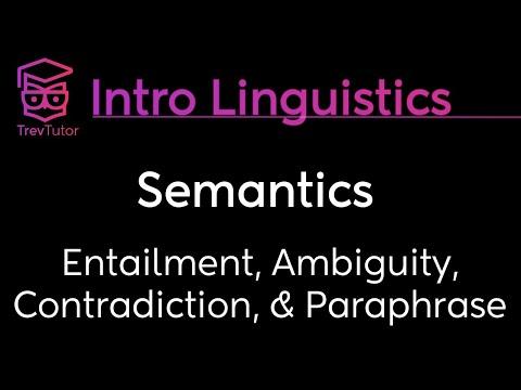 [Introduction to Linguistics] Ambiguity, Paraphrase, Entailment, Contradiction