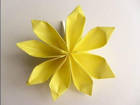 Origami 8 Petal Flower Version 2 Youtube