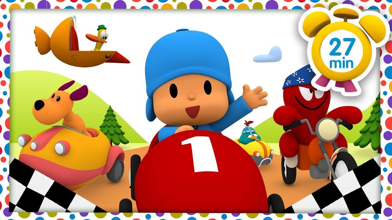 🚗 CANCIONES INFANTILES de POCOYÓ - Coches infantiles [ 27 min ] | Caricaturas y dibujos animados