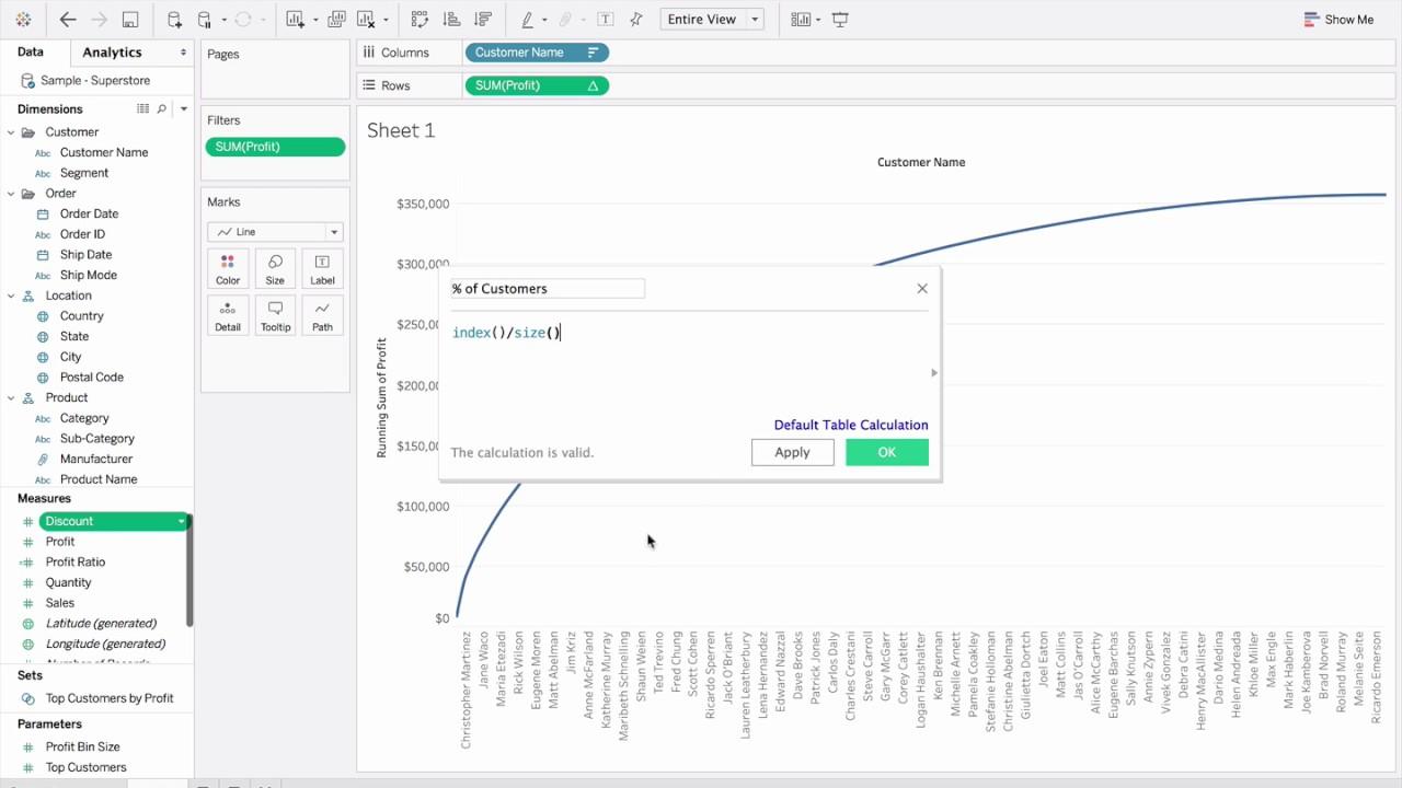 Data Viz Tableau Pareto Chart Demo Youtube