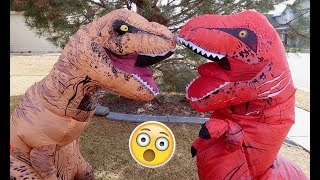 One of Aaron DeBoer's most viewed videos: Red T-Rex vs Giant T-Rex! Ball Pit Ball Fun! Funny Inflatable Dinosaurs | Playtime Movie