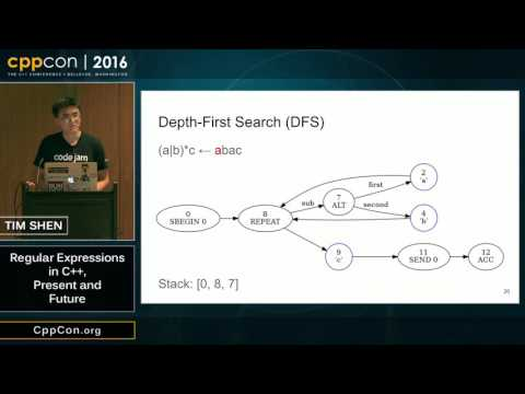 "CppCon 2016: Tim Shen ""Regular Expressions in C++, Present and Future"""
