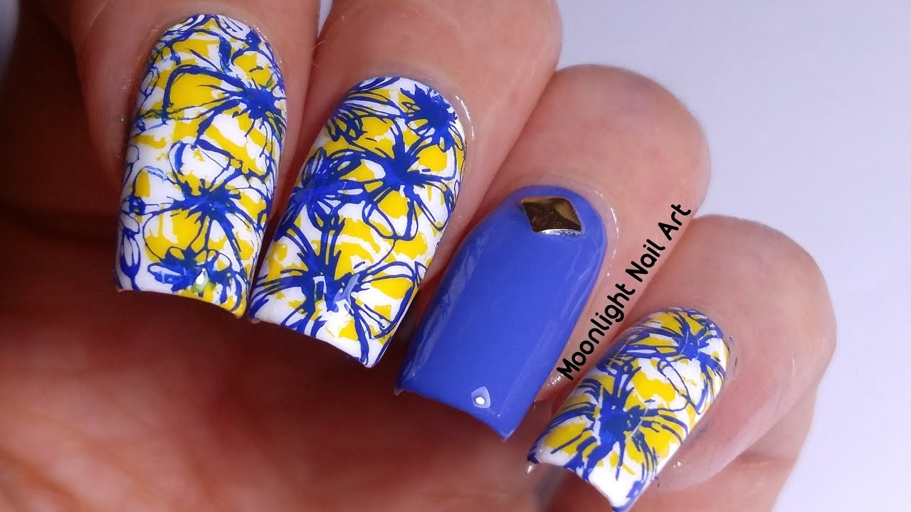 Flower Nail Art In Blue Yellow Double Stamping Tutorial Youtube