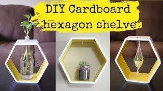 DIY: Hexagon shelve using cardboard| 3-ways to use| Ideas for displaying air plants & aquatic plants