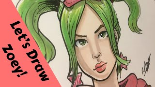 Let's Draw FORTNITE - Zoey skin - Speed drawing