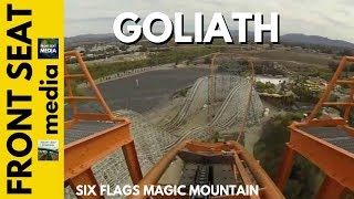Six Flags Magic Mountain Goliath POV HD Roller Coaster On Ride Front Seat GoPro Steel 2013