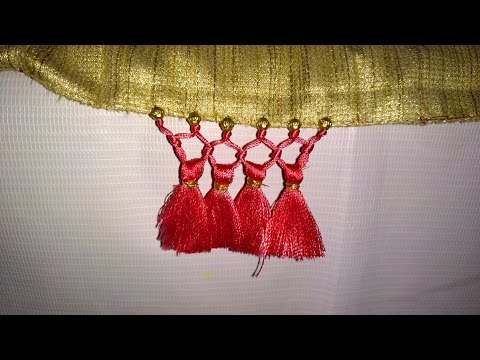 Simple Saree Kuchu Tassel With Beads Design