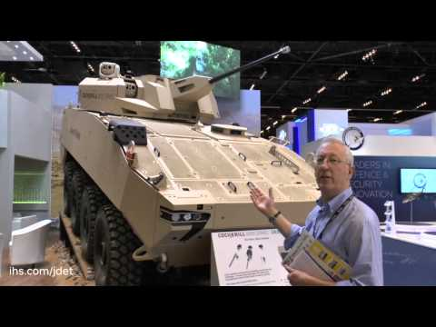 IDEX 2015 The Cockerill 3000 series turret fitted to General Dynamic Land Systems Desert PIRANHA 8x8
