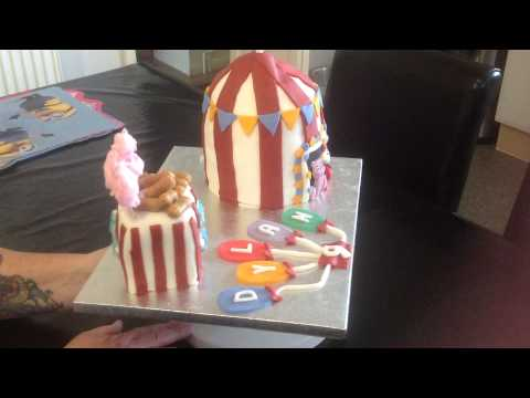 Circus theme birthday cake big top tent balloons