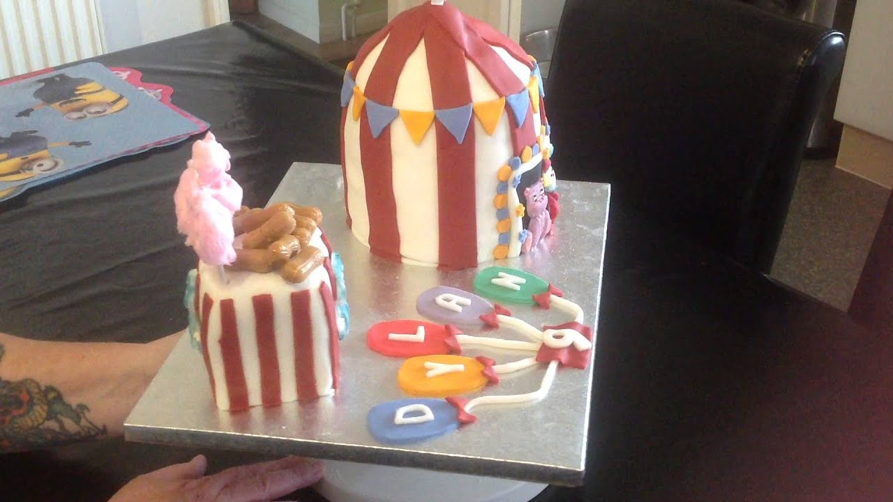 Circus theme birthday cake big top tent balloons & Circus theme birthday cake big top tent balloons - YouTube