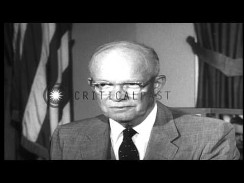 President Eisenhower speaks about his decision to dispatch Federal troops to Litt...HD Stock Footage