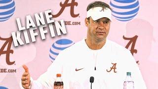Alabama offensive coordinator Lane Kiffin addresses the media on Alabama fan day