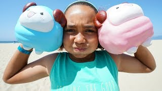 GIANT SQUISHY TOYS ON THE BEACH!!