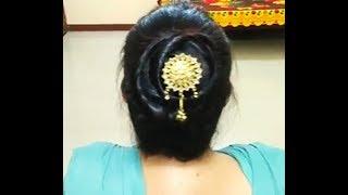 Simple hairstyle,khud se banaye for any occasion ll hair style ll sari bun