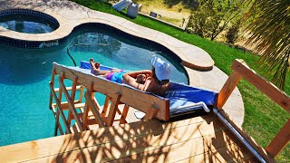 DIY Backyard Water Slide into Pool from Tree House!!