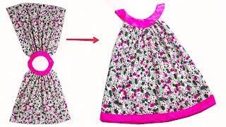 أسهل واسرع طريقة لخياطة فستان طفلة بنص متر قماش