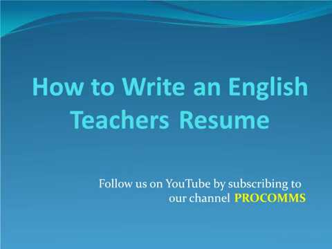How to Write an English Teachers Resume English Teachers Resume