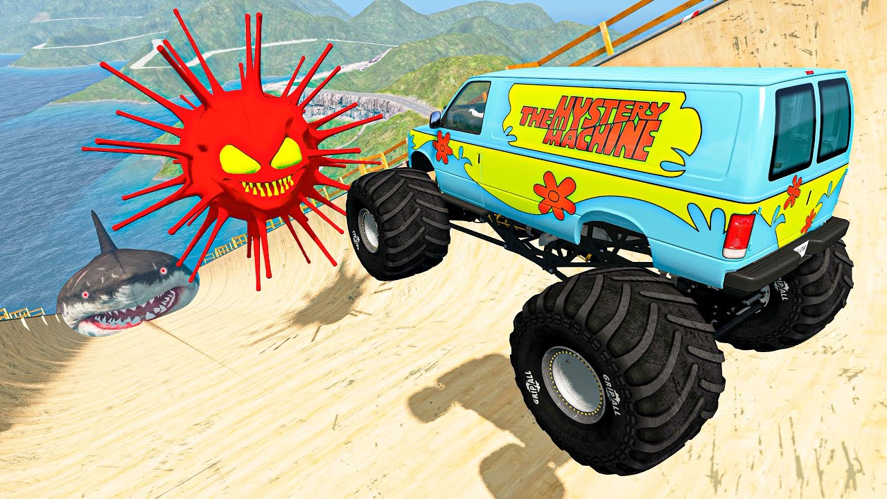 BeamNG Drive Crazy Vehicle High Speed Jumping Over Red Virus And Crashes In Water Shark | Good Cat