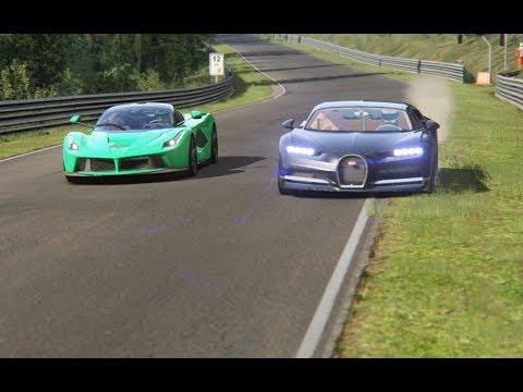 Ferrari LaFerrari vs Bugatti Chiron at Nordschleife