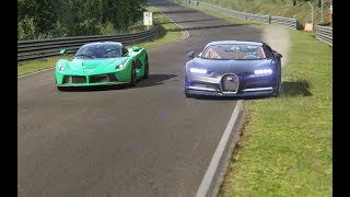 Download Ferrari LaFerrari vs Bugatti Chiron at Nordschleife Mp3 and Videos