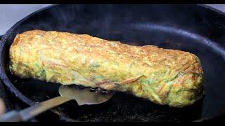 Big egg rolled omelet / Korean Street Food / 두툼한 왕 계란말이 / 을지로 화산골뱅이